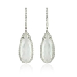 .40ct Doves Diamond and Mother of Pearl 18k White Gold Dangle Earrings