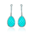 .48ct Doves Diamond, White Topaz and Turquoise 18k White Gold Dangle Earrings