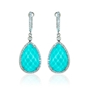 Doves Diamond, White Topaz and Turquoise 18k White Gold Dangle Earrings