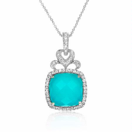 Doves Diamond and Turquoise Antique Style 18k White Gold Pendant