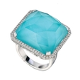 .37ct Doves Diamond and Turquoise 18k White Gold Ring