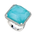 Doves Diamond and Turquoise 18k White Gold Ring