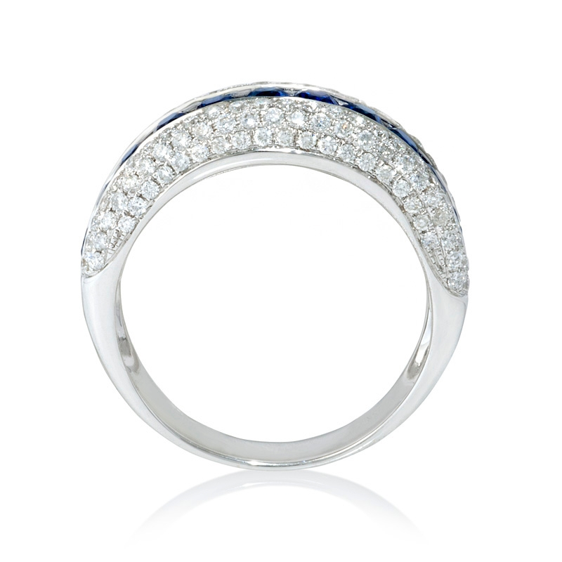 72ct blue sapphire and pave diamond 18k white gold ring