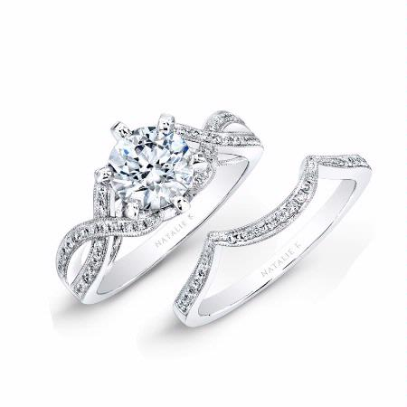 natalie k diamond 18k white gold engagement ring setting and wedding band set - Engagement Ring And Wedding Band Set