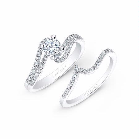 natalie k diamond 14k white gold engagement ring setting and wedding band set - Engagement Rings With Wedding Band