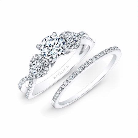 natalie k diamond 14k white gold engagement ring setting and wedding band set - Wedding Engagement Ring Sets