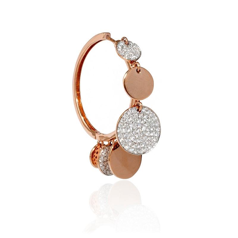 1 30ct Diamond 18k Rose Gold Hoop Earrings