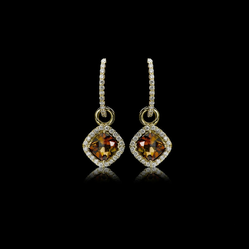 68ct Christopher Designs Diamond And Cognac Tourmaline 18k Yellow Gold Dangle Earrings