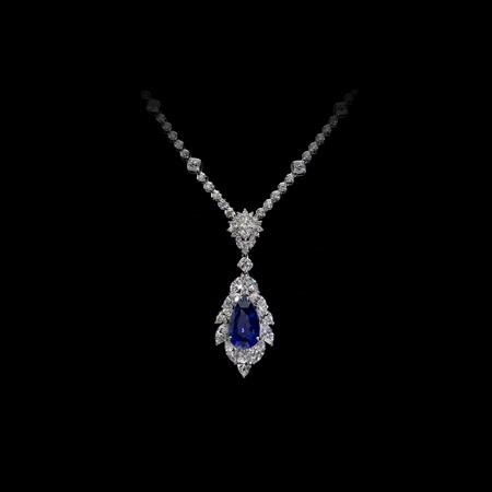 Christopher Designs Diamond 18k White Gold Sapphire Pendant Necklace