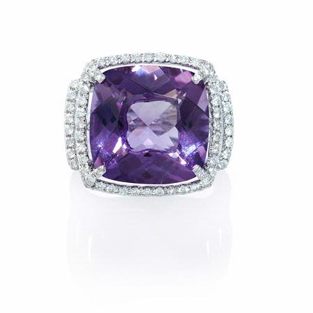 Diamond and Purple Amethyst 18k White Gold Ring