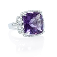.45ct Diamond and Purple Amethyst 18k White Gold Ring