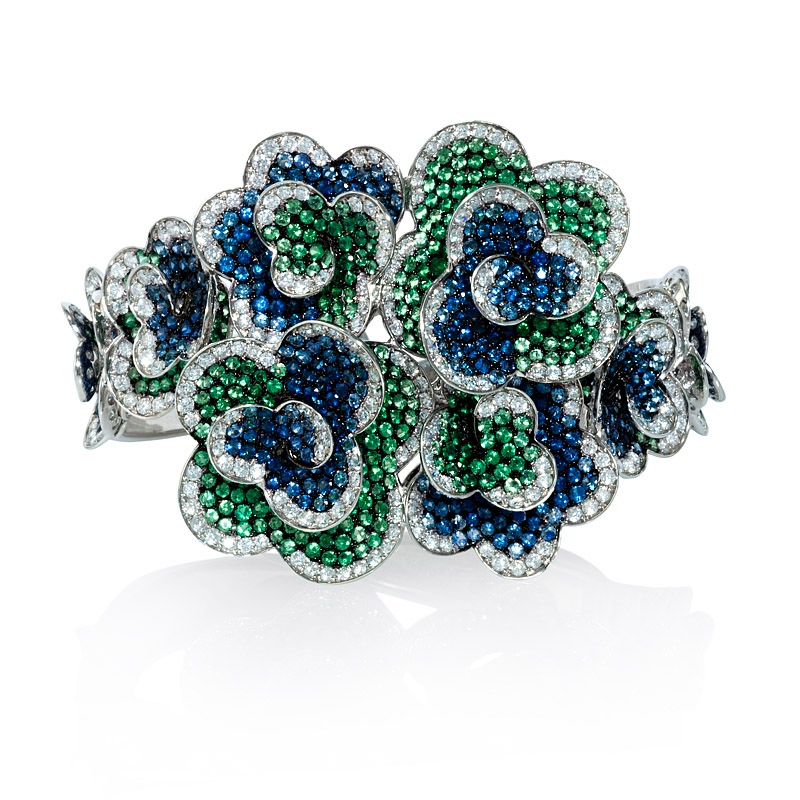 sapphire and diamond bracelet emerald bangles gold zoom gm diamonds ctw loading emeralds bangle