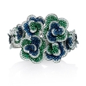 Diamond, Sapphire and Tsavorite 18k White Gold Floral Bangle Bracelet