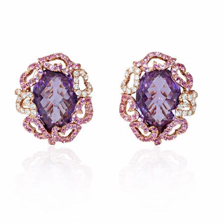 Diamond, Sapphire and Amethyst 18k Rose Gold Cluster Earrings