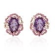 .42ct Diamond, Sapphire and Amethyst 18k Rose Gold Cluster Earrings
