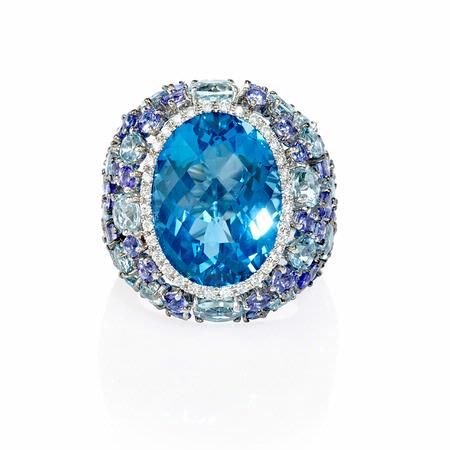 Diamond Tanzanite, Blue Topaz and Aquamarine 18k White Gold Ring