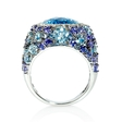 .19ct Diamond Tanzanite, Blue Topaz and Aquamarine 18k White Gold Ring