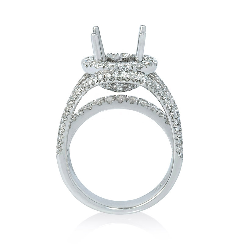 2 21ct Diamond 18k White Gold Double Halo Split Shank Engagement Ring Setting