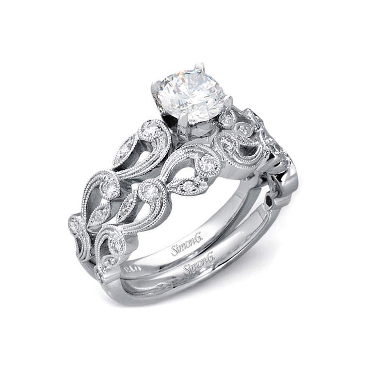 ... Antique Style 18k White Gold Engagement Ring Setting and Wedding Band