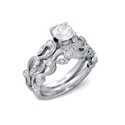 Simon G Diamond Antique Style 18k White Gold Engagement Ring Setting and Wedding Band Set
