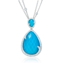Doves Diamond, White Topaz and Turquoise 18k White Gold Pendant
