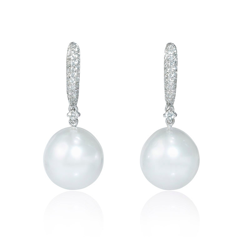 36ct Diamond And South Sea Pearl 18k White Gold Dangle Earrings