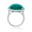 .54ct Diamond and Green Agate 18k White Gold Ring