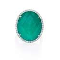 Diamond and Green Agate 18k White Gold Ring