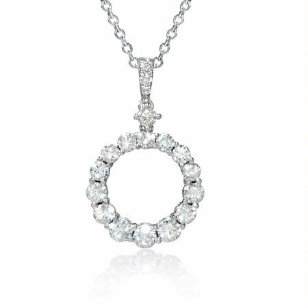 Diamond 18k White Gold Circle Pendant