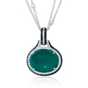 Doves Diamond and Green Agate 18k White Gold Pendant