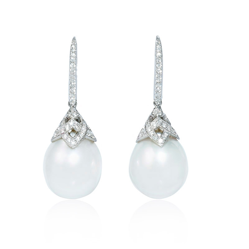 50ct Diamond And South Sea Pearl 18k White Gold Dangle Earrings