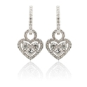 Diamond 18k White Gold Heart Dangle Earrings