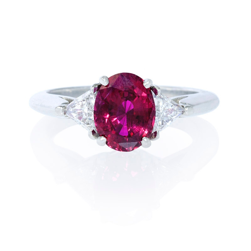 50ct and ruby platinum ring