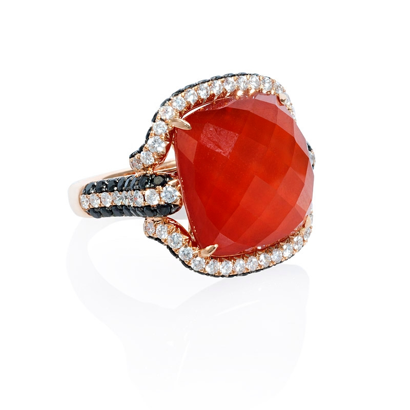 1 58ct Diamond White Topaz And Red Agate 18k Rose Gold Ring