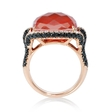 1.58ct Diamond, White Topaz and Red Agate 18k Rose Gold Ring