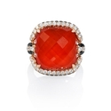 Diamond, White Topaz and Red Agate 18k Rose Gold Ring