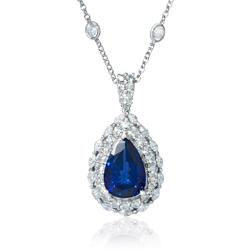 Tanzanite Necklace Tanzanite: 2.19ct Diamond And Tanzanite 18k White Gold Pendant