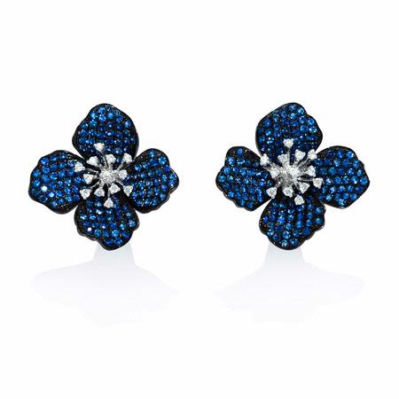 Diamond and Blue Sapphire 18k White Gold and Black Rhodium Cluster Earrings