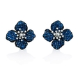 .27ct Diamond and Blue Sapphire 18k White Gold and Black Rhodium Cluster Earrings