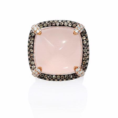 Doves Diamond and Pink Quartz 18k Rose Gold and Black Rhodium Ring