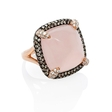 .50ct Doves Diamond and Pink Quartz 18k Rose Gold and Black Rhodium Ring
