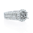 1.86ct Diamond 18k White Gold Halo Engagement Ring Setting
