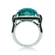 1.58ct Diamond, White Topaz and Green Agate 18k White Gold Ring
