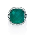 Diamond, White Topaz and Green Agate 18k White Gold Ring