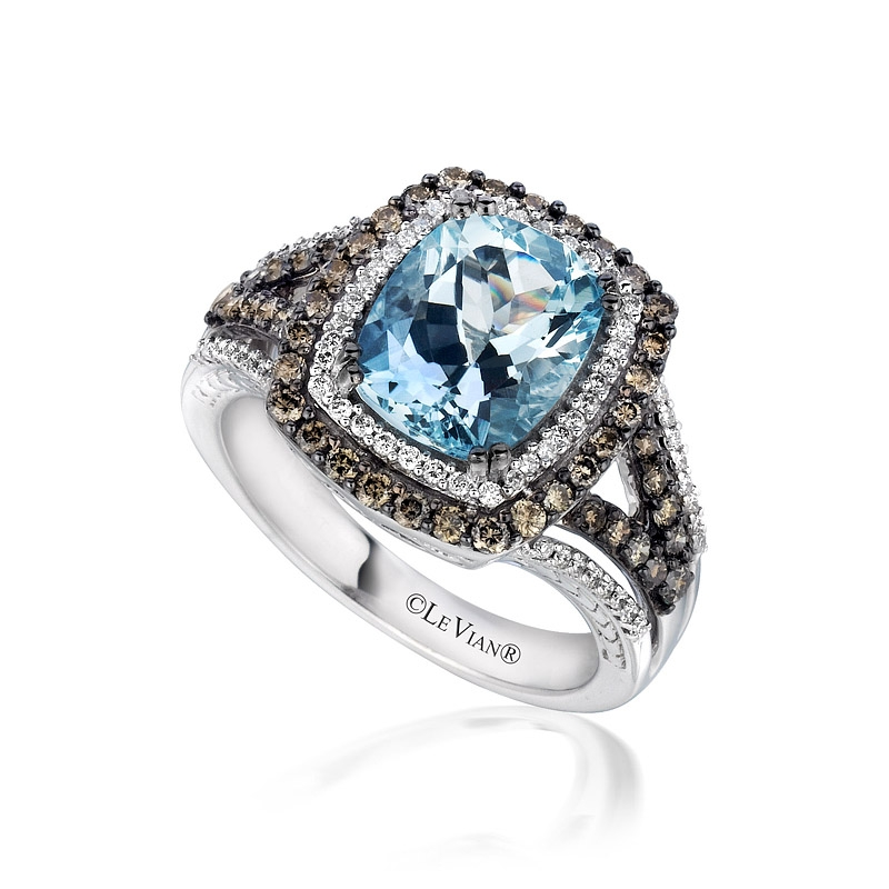 Levian Aquamarine Ring With Chocolate Diamonds