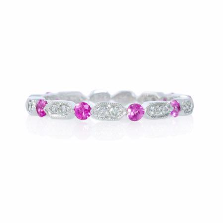 Diamond and Pink Sapphire Antique Style 18k White Gold Ring