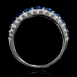 .65ct Diamond and Blue Sapphire Tapered 18k White Gold Three Row Ring