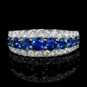 Diamond and Blue Sapphire Tapered 18k White Gold Three Row Ring