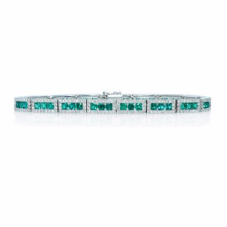 2.13ct Diamond and Emerald 18k White Gold Bracelet