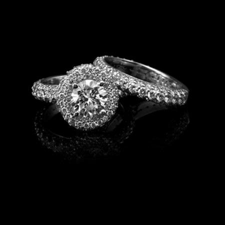 Christopher Designs Diamond 18k White Gold Halo Engagement Ring Setting